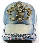 Wholesale Rhinestone Denim Fleur de Lis Baseball Hats - Blue