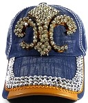 Wholesale Rhinestone Denim Fleur de Lis Baseball Hats - Navy