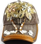 Wholesale Denim Bling Baseball Caps - Palm Trees Brown