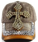 Wholesale Denim Cross Bling Baseball Caps - Brown