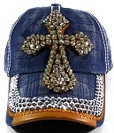Wholesale Denim Cross Bling Baseball Caps - Navy