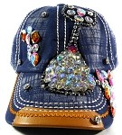 Wholesale Denim Rhinestone Baseball Caps - Kitty Cat Navy