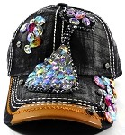Wholesale Denim Rhinestone Baseball Caps - Kitty Cat Black