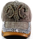 Wholesale Rhinestone Denim Fleur de Lis Baseball Hats - Brown