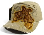 Wholesale Bling Crossed Pistols Cadet Caps - Khaki