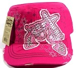 Wholesale Bling Crossed Pistols Cadet Caps - Hot Pink