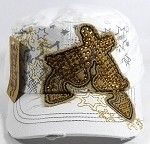 Wholesale Bling Crossed Pistols Cadet Caps - White