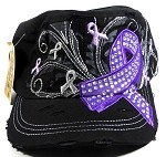 Wholesale Purple Ribbon Bling Cadet Hats - Black