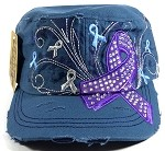 Wholesale Purple Ribbon Bling Cadet Hats - Steel Blue