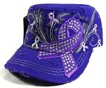 Wholesale Purple Ribbon Bling Cadet Caps - Purple