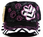 Wholesale Bling Paw Print Cadet Hats - Black