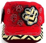 Wholesale Bling Paw Print Cadet Hats - Red