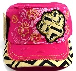 Wholesale Bling Paw Print Cadet Hats - Hot Pink