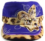 Wholesale Bling Fleur de Lis Animal Print Cadet Hats - Purple