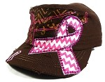 Wholesale Pink Ribbon Rhinestone Cadet Hats - Brown