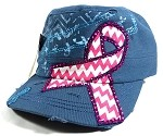 Wholesale Pink Ribbon Rhinestone Cadet Hats - Steel Blue