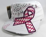 Wholesale Pink Ribbon Rhinestone Cadet Caps - White