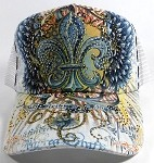 Wholesale Bling Fleur de Lis Mesh Trucker Hats - White