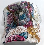 Wholesale Bling Butterfly Mesh Trucker Ball Caps - White