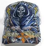 Wholesale Bling Santa Muerte Mesh Trucker Hats - White