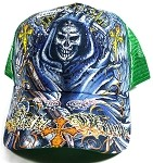 Wholesale Bling Santa Muerte Mesh Trucker Hats - Green