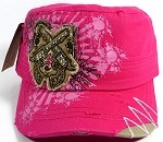 Wholesale Cowgirl Crossed Pistols Bling Caps - Pink