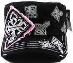 Bling Cross Cadet Caps Wholesale - Black | Pink