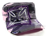 Rhinestone Chopper Cross Cadet Caps Wholesale - Pink Camo