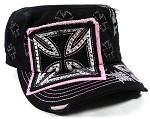 Rhinestone Chopper Cross Cadet Caps Wholesale - Black | Pink
