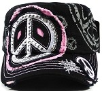 Bling Peace Sign Cadet Hats Wholesale - Black | Pink