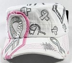 Bling Ribbon Cadet Hats Wholesale - White | Pink
