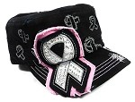Bling Breast Cancer Awareness Ribbon Caps Wholesale - Black | Pink