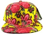 Blank Caps Floral Snapbacks Wholesale - Yellow Paisley