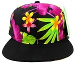 Blank Caps Floral Snapbacks Hats Wholesale - Hawaiian Flower Pink 2