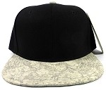 Wholesale Blank Cork Snapback Hats - Wood Brim Caps Black | White