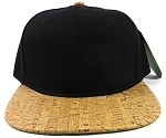 Blank Cork Snapback Hats Wholesale - Wood Brim Caps Black | Brown