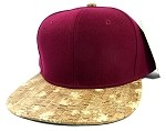 Blank Cork Snapback Hats Wholesale - Wood Brim Caps Burgundy | Floral