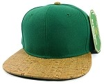Wholesale Plain Cork Snapback Hats - Wood Brim Caps Green | Brown
