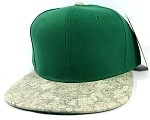 Wholesale Plain Cork Snapback Hats - Wood Brim Caps Green | White