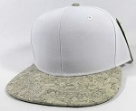 Wholesale Plain Cork Snapback Hats - Wood Brim Caps White | White