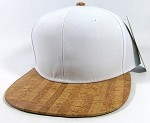 Wholesale Plain Cork Snapback Hats - Wood Brim Caps White | Lines
