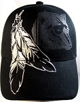 Native Pride Feathers & Wolf Hat - Black Ball Cap