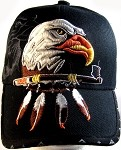 Native Pride Eagle & Peace Pipe Hat - Black Ball Cap