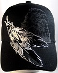Native Pride Feathers & Eagle Hat - Black Ball Cap