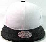 Blank Faux Alligator Skin Retro Snapbacks Hats Wholesale - White / Black