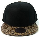 Blank Faux Leopard Skin Vintage Snapbacks Hats Wholesale - Black