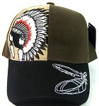 Native Pride Caps Wholesale - Native Chief & Feathers brown / Black