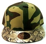 Blank Faux Snakeskin Vintage Snapbacks Hats Wholesale - Camo Brown