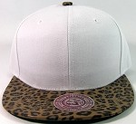 Blank Faux Leopard Skin Vintage Snapbacks Hats Wholesale - White