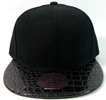 Blank Faux Alligator Skin Retro Snapback Hats Wholesale - Black / Black